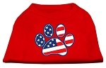 Patriotic Paw Screen Print Shirts Red S (10)