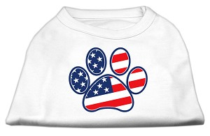 Patriotic Paw Screen Print Shirts White XL (16)