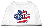 Patriotic Paw Screen Print Shirts White S (10)