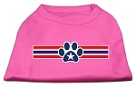 Patriotic Star Paw Screen Print Shirts Bright Pink S (10)