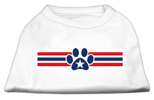 Patriotic Star Paw Screen Print Shirts White M (12)