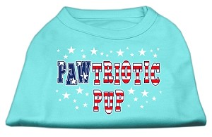 Pawtriotic Pup Screen Print Shirts Aqua L (14)