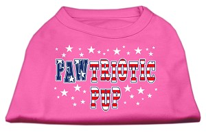 Pawtriotic Pup Screen Print Shirts Bright Pink XXXL(20)