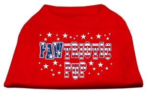 Pawtriotic Pup Screen Print Shirts Red XL (16)