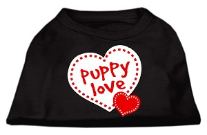 Puppy Love Screen Print Shirt Black XS (8)