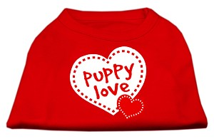 Puppy Love Screen Print Shirt Red Lg (14)