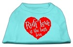 Ruff Love Screen Print Shirt Aqua XS (8)
