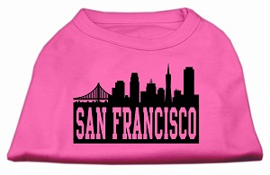 San Francisco Skyline Screen Print Shirt Bright Pink XXXL (20)