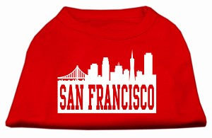 San Francisco Skyline Screen Print Shirt Red XXXL (20)