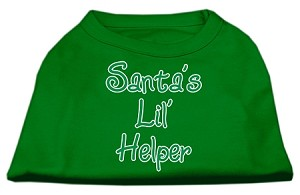 Santa's Lil' Helper Screen Print Shirt Emerald Green Lg (14)
