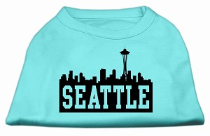 Seattle Skyline Screen Print Shirt Aqua Sm (10)