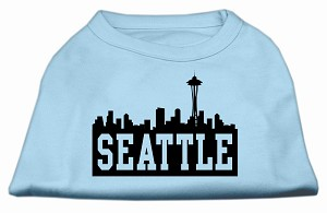 Seattle Skyline Screen Print Shirt Baby Blue XXXL (20)