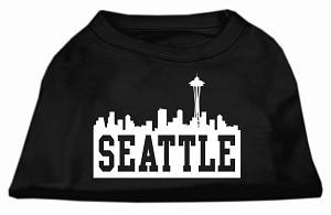 Seattle Skyline Screen Print Shirt Black Sm (10)