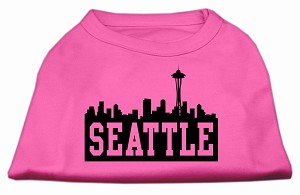Seattle Skyline Screen Print Shirt Bright Pink XXXL (20)