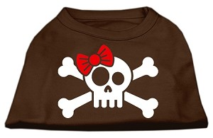 Skull Crossbone Bow Screen Print Shirt Brown XXXL (20)