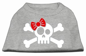 Skull Crossbone Bow Screen Print Shirt Grey Sm (10)