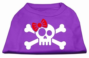 Skull Crossbone Bow Screen Print Shirt Purple Lg (14)