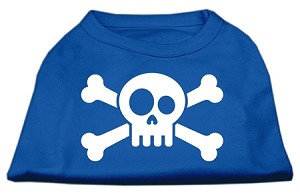 Skull Crossbone Screen Print Shirt Blue XXL (18)