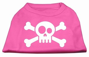 Skull Crossbone Screen Print Shirt Bright Pink Lg (14)
