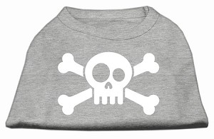 Skull Crossbone Screen Print Shirt Grey XXL (18)