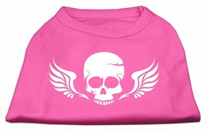 Skull Wings Screen Print Shirt Bright Pink Sm (10)