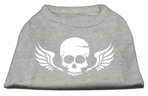 Skull Wings Screen Print Shirt Grey XXXL (20)