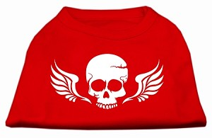 Skull Wings Screen Print Shirt Red Sm (10)