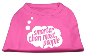 Smarter then Most People Screen Printed Dog Shirt  Bright Pink Sm (10)