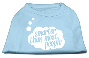Smarter then Most People Screen Printed Dog Shirt  Baby Blue Sm (10)