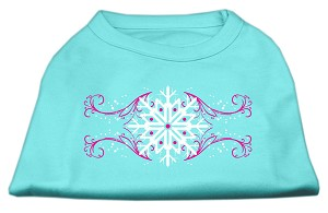 Pink Snowflake Swirls Screenprint Shirts Aqua L (14)