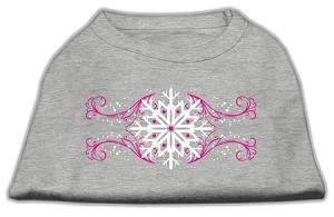 Pink Snowflake Swirls Screenprint Shirts Grey XXL (18)