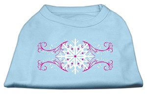 Pink Snowflake Swirls Screenprint Shirts Baby Blue M (12)
