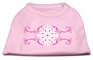 Pink Snowflake Swirls Screenprint Shirts Light Pink S (10)