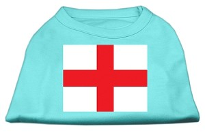 St. George's Cross (English Flag) Screen Print Shirt Aqua XXL (18)