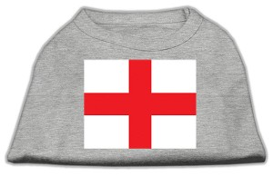 St. George's Cross (English Flag) Screen Print Shirt Grey XXXL (20)