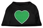 Green Swiss Dot Heart Screen Print Shirt Black XS (8)
