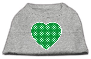 Green Swiss Dot Heart Screen Print Shirt Grey XS (8)