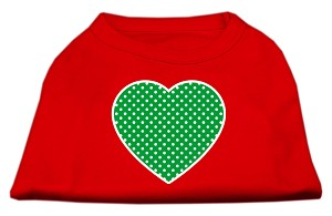 Green Swiss Dot Heart Screen Print Shirt Red Med (12)