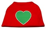 Green Swiss Dot Heart Screen Print Shirt Red XS (8)