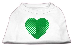 Green Swiss Dot Heart Screen Print Shirt White S (10)