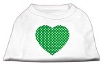 Green Swiss Dot Heart Screen Print Shirt White XS (8)
