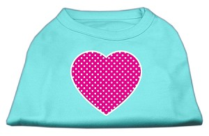 Pink Swiss Dot Heart Screen Print Shirt Aqua XXXL (20)
