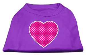 Pink Swiss Dot Heart Screen Print Shirt Purple Med (12)