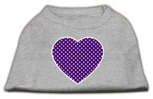 Purple Swiss Dot Heart Screen Print Shirt Grey XL (16)