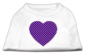Purple Swiss Dot Heart Screen Print Shirt White XXXL (20)