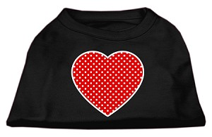Red Swiss Dot Heart Screen Print Shirt Black Sm (10)