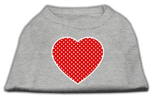 Red Swiss Dot Heart Screen Print Shirt Grey XS (8)
