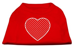 Red Swiss Dot Heart Screen Print Shirt Red XL (16)