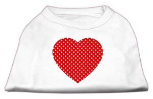 Red Swiss Dot Heart Screen Print Shirt White XXL (18)