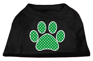 Green Swiss Dot Paw Screen Print Shirt Black XL (16)